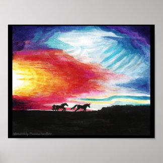 """Poster 11"""" del color del arte de los caballos de"""
