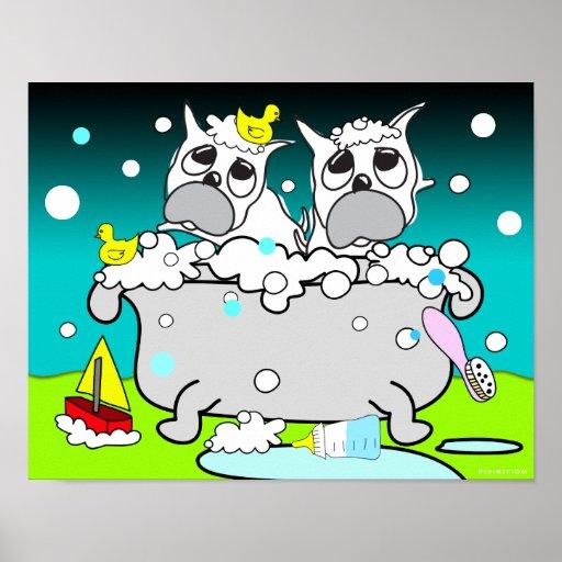 Poster 11 del perrito del dogo de la bañera