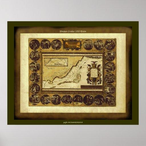 Poster 1586 del arte del mapa del vintage de las T