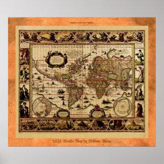 Poster 1635 del mapa de Viejo Mundo