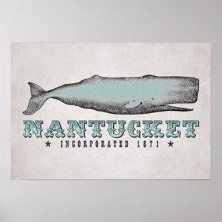 Poster 1671 de Nantucket mA inc. de la ballena del