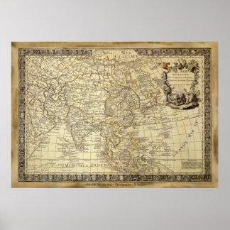 Poster 1700 del arte del MAPA de VIEJO MUNDO del A