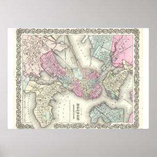 Poster 1855 del mapa de Boston