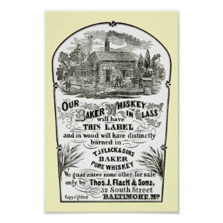 Poster 1867 del vintage del whisky de Baltimore