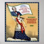 Poster 1868 de la reelección de presidente Andrew