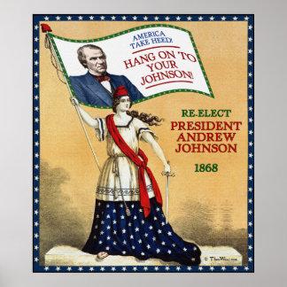 Poster 1868 de la reelección de presidente Andrew  Póster