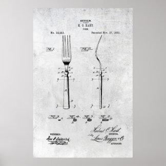 Poster 1883 de la impresión de la patente de la