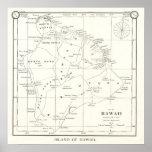 Poster 1887 del mapa del vintage de la isla de Haw