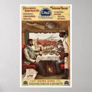 Poster 1894 del vagón restaurante del pullman de C Póster