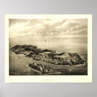 Poster 1896 de la opinión de la isla de Monhegan,