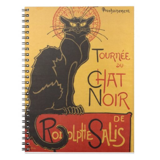 Poster 1896 del cabaret de Tournee du Chat Noir Spiral Notebooks