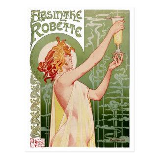 Poster 1896 del vintage de Robette del ajenjo Postal