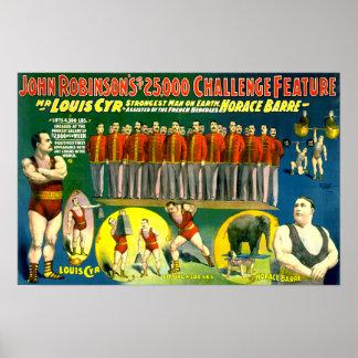 Poster 1898 del vintage de la demostración del cir