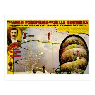 Poster 1899 del vintage del funcionamiento del cir tarjeta postal