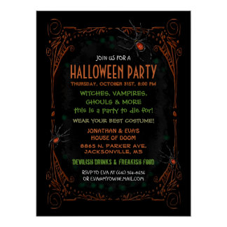 Poster 18 x 24 del fiesta de Halloween