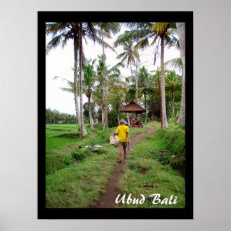 "Poster  (18"" x 24"")  Rice field worker | Ubud Bali"
