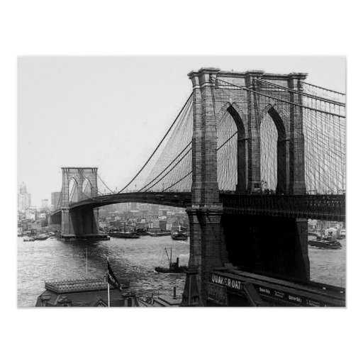 Poster 1900 del puente NYC de East River