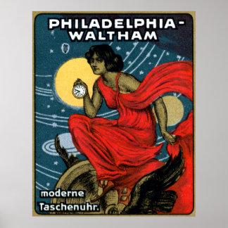 Poster 1900 del reloj de bolsillo de Waltham