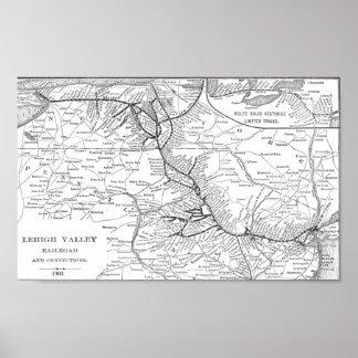 Poster 1903 del mapa del ferrocarril del valle de