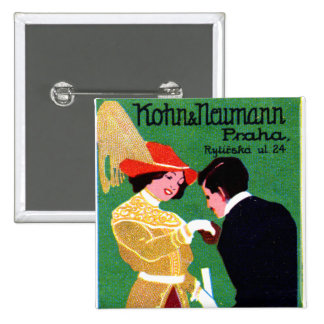 Poster 1905 de la moda de Praga Pin Cuadrada 5 Cm
