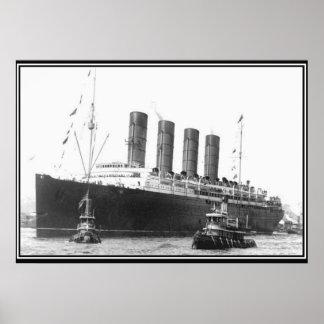 Poster 1906 de la foto del vintage del Lusitania
