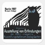 Poster 1907 de la exposición de Berlín Calcomania Cuadradas