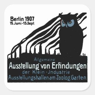 Poster 1907 de la exposición de Berlín Pegatina Cuadrada
