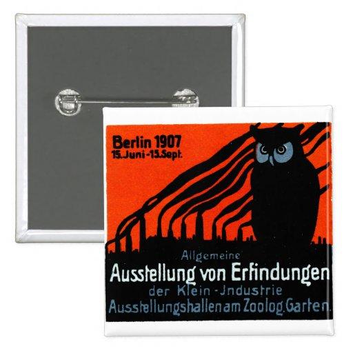 Poster 1907 de la exposición de Berlín Pin Cuadrado