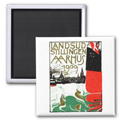 Poster 1909 de la exposición de Aarhus Dinamarca Imán Cuadrado