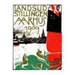 Poster 1909 de la exposición de Aarhus Dinamarca Postal