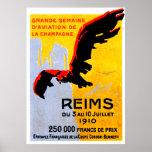 Poster 1910 del salón aeronáutico de Reims