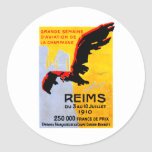 Poster 1910 del salón aeronáutico de Reims Pegatina Redonda