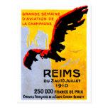 Poster 1910 del salón aeronáutico de Reims Tarjetas Postales