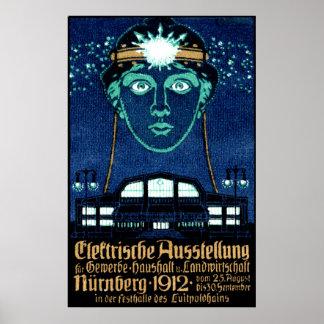 Poster 1912 de la expo de la electricidad póster