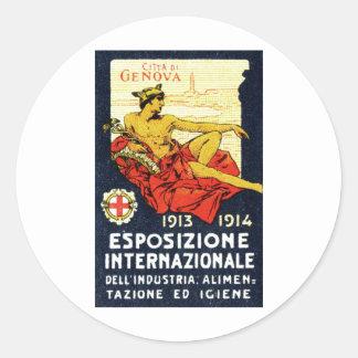 Poster 1913 de la expo de Génova Pegatina Redonda