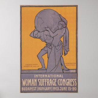 Poster 1913 del congreso del sufragio de las mujer