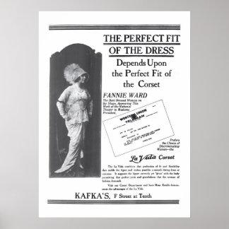 Poster 1914 del anuncio de la ropa del vintage de
