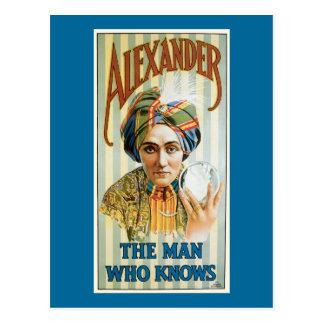 Poster 1915 del mago de Alexander del vintage Postal