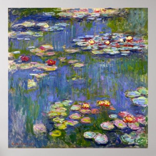 Poster 1916 de los lirios de agua de Monet