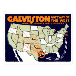Poster 1920 de Galveston Tejas Postal