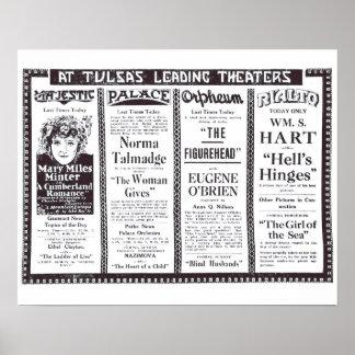 Poster 1920 de los anuncios de la película muda de