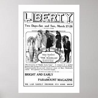 Poster 1920 del anuncio de la película del vintage
