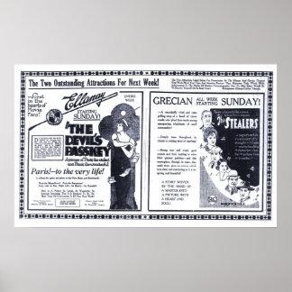 Poster 1920 del anuncio de la película del vintage póster
