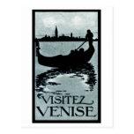 Poster 1920 del viaje de Venecia Postal