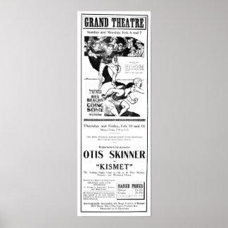 Poster 1921 del anuncio de periódico del vintage d