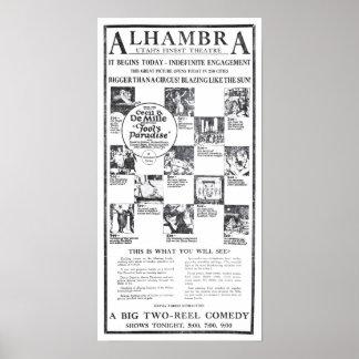 """""""Poster 1922 del anuncio de la película del vintag"""