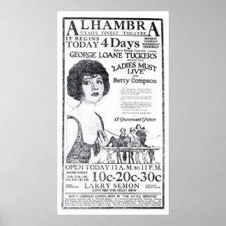 Poster 1922 del anuncio de la película del vintage