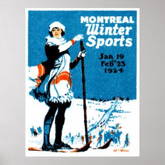 Poster 1924 de los deportes de invierno de Montrea