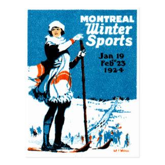 Poster 1924 de los deportes de invierno de Montrea Tarjetas Postales