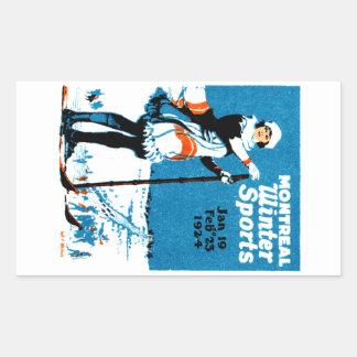 Poster 1924 de los deportes de invierno de pegatina rectangular